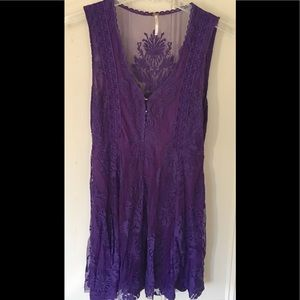 Free People Dresses - Free People Sz2 Dress Purple Fit Flare Sheer black